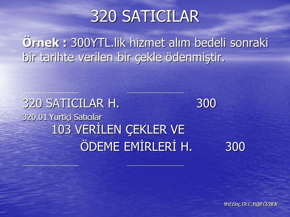 320 SATICILAR Örnek : 300YTL.lik hizmet alım bedeli sonraki bir tarihte verilen bir çekle ödenmiştir.