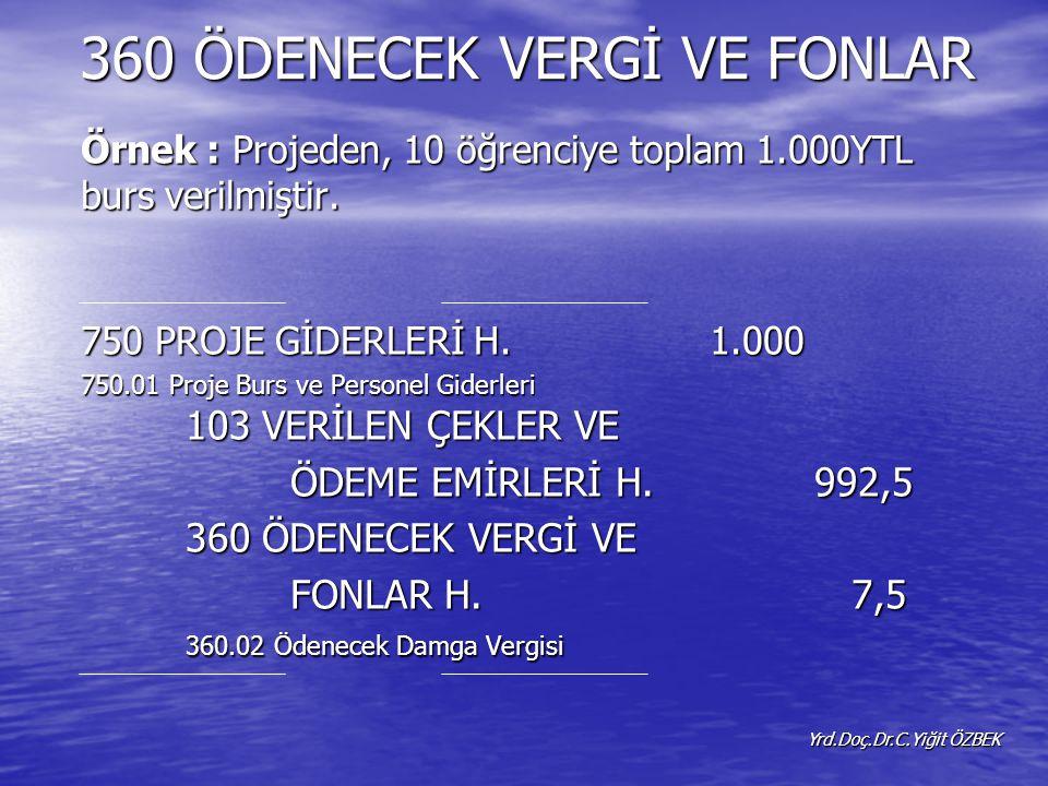 360 ÖDENECEK VERGİ VE FONLAR Yrd.Doç.Dr.C.Yiğit ÖZBEK Örnek : Projeden, 10 öğrenciye toplam 1.000YTL burs verilmiştir.