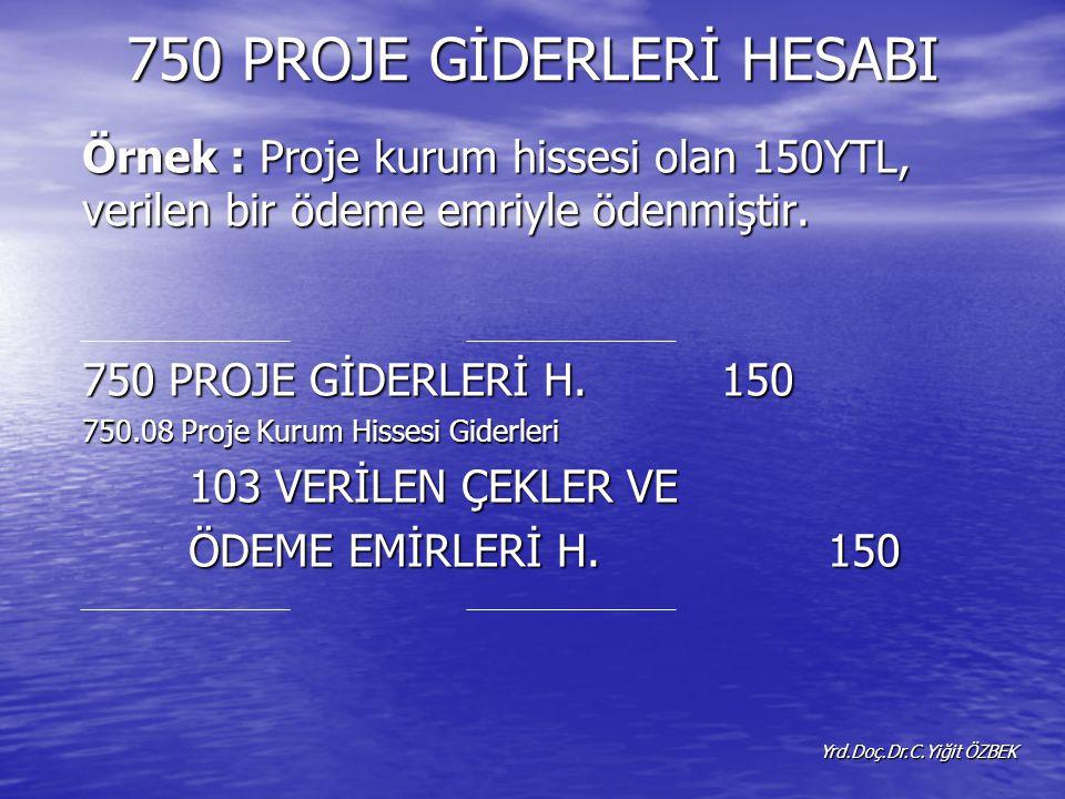 750 PROJE GİDERLERİ HESABI Örnek : Proje kurum hissesi olan 150YTL, verilen bir ödeme emriyle ödenmiştir.