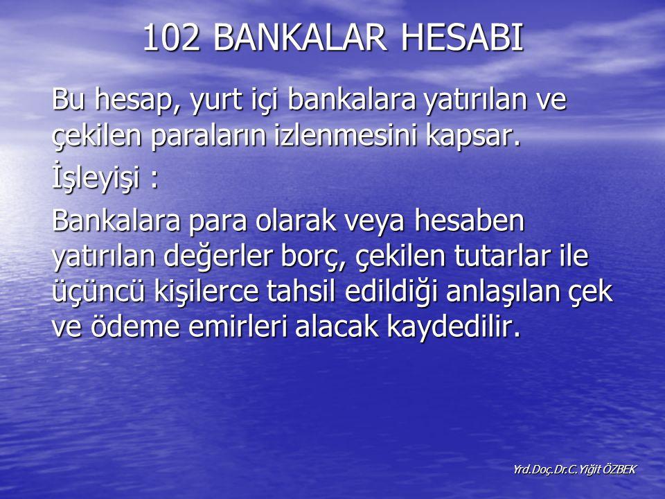 102 BANKALAR HESABI Bu hesap, yurt içi bankalara yatırılan ve çekilen paraların izlenmesini kapsar.