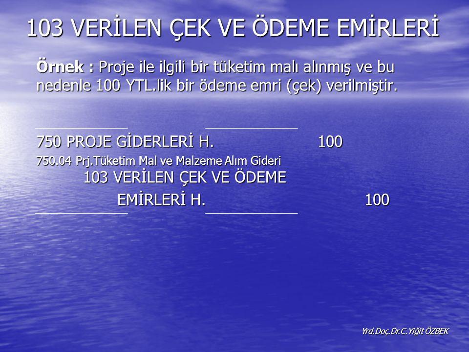 Örnek : Proje ile ilgili bir tüketim malı alınmış ve bu nedenle 100 YTL.lik bir ödeme emri (çek) verilmiştir.