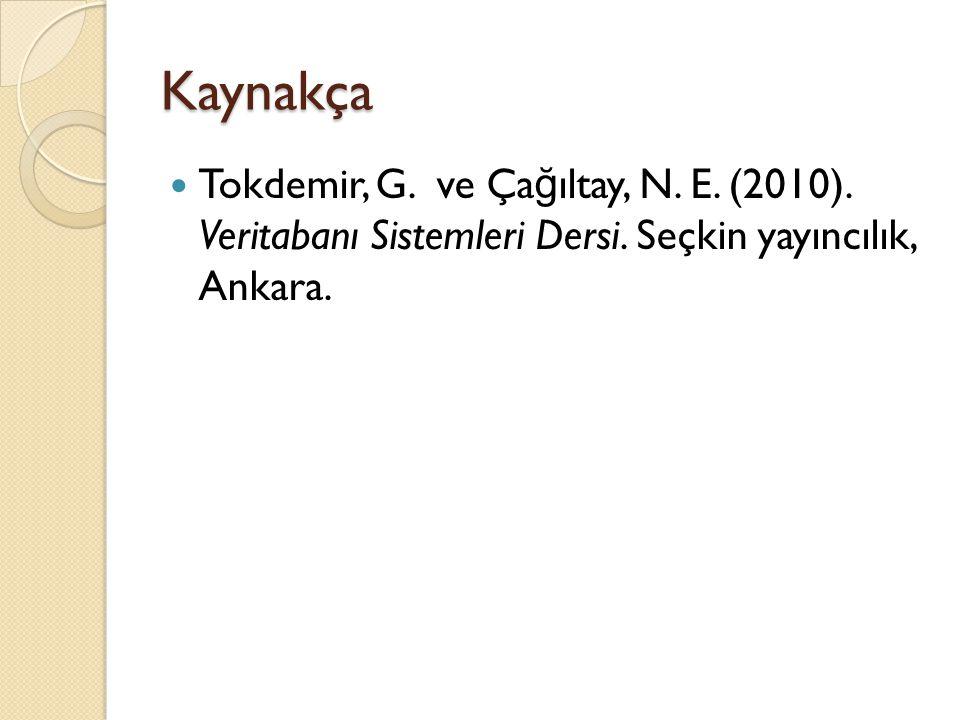Kaynakça Tokdemir, G. ve Ça ğ ıltay, N. E. (2010). Veritabanı Sistemleri Dersi. Seçkin yayıncılık, Ankara.