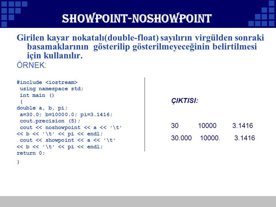 Company Logo Showpoint-noshowpoint Girilen kayar nokatalı(double-float) sayılırın virgülden sonraki basamaklarının gösterilip gösterilmeyeceğinin beli