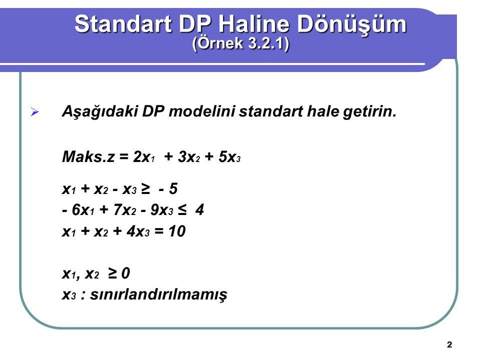2  Aşağıdaki DP modelini standart hale getirin. Maks.z = 2x 1 + 3x 2 + 5x 3 x 1 + x 2 - x 3 ≥ - 5 - 6x 1 + 7x 2 - 9x 3 ≤ 4 x 1 + x 2 + 4x 3 = 10 x 1,