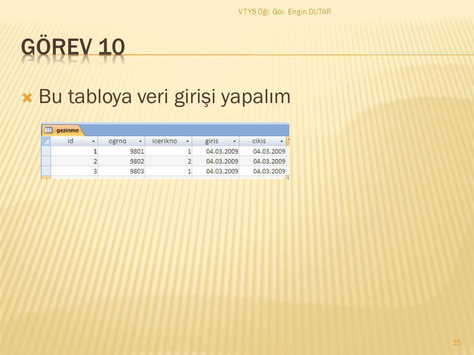  Bu tabloya veri girişi yapalım 15 VTYS Öğr. Gör. Engin DUTAR