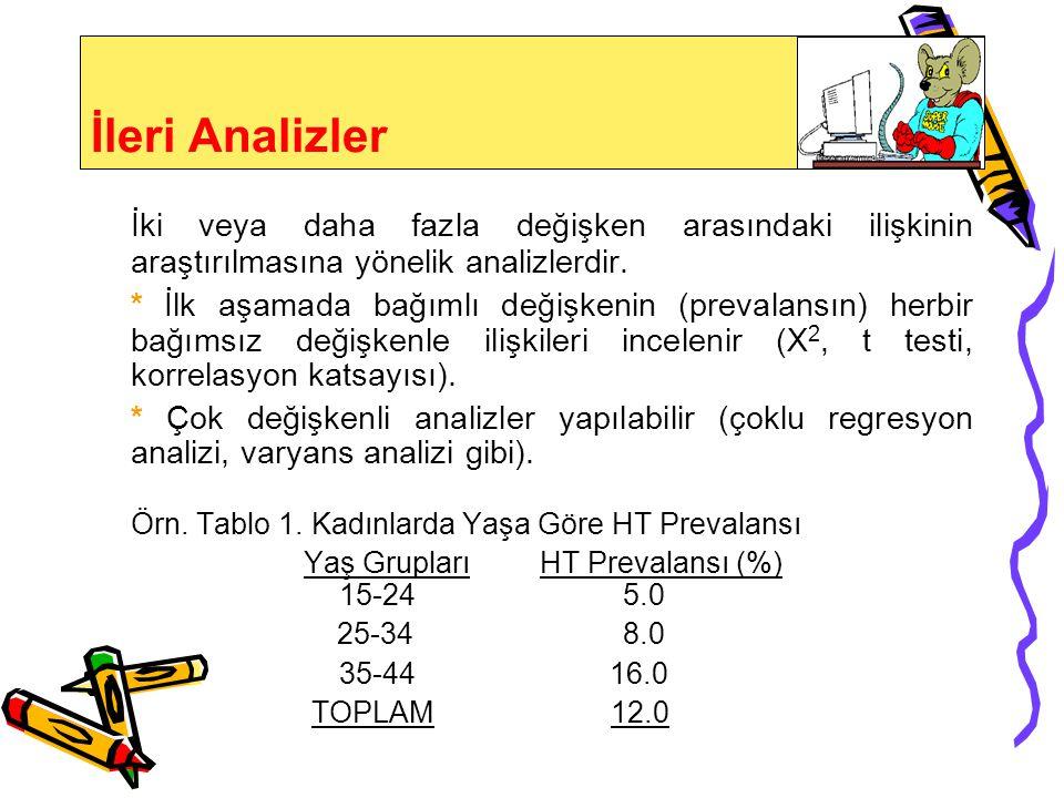 Verilerin Analizi Ön Analizler * Her değişkene ait veriler tanımlanır (ortalama, ortanca, en yüksek ve en düşük değer, standart sapma, standart hata),