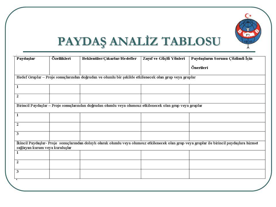 Proje genel bilgi 20/34 PAYDAŞ ANALİZ TABLOSU
