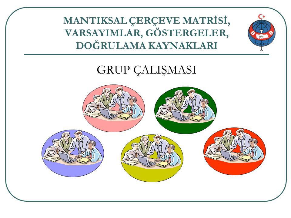 Proje genel bilgi 49/34 MANTIKSAL ÇERÇEVE MATRİSİ, VARSAYIMLAR, GÖSTERGELER, DOĞRULAMA KAYNAKLARI GRUP ÇALIŞMASI