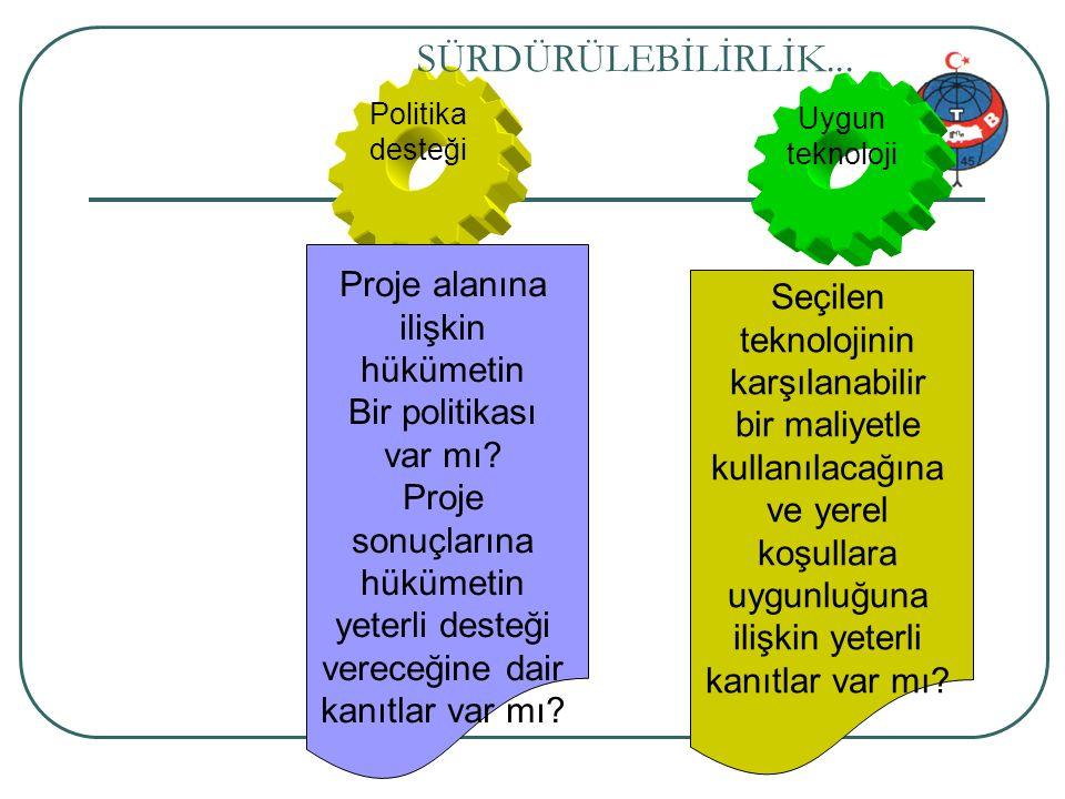 Proje genel bilgi 57/34 Politika desteği SÜRDÜRÜLEBİLİRLİK... Proje alanına ilişkin hükümetin Bir politikası var mı? Proje sonuçlarına hükümetin yeter