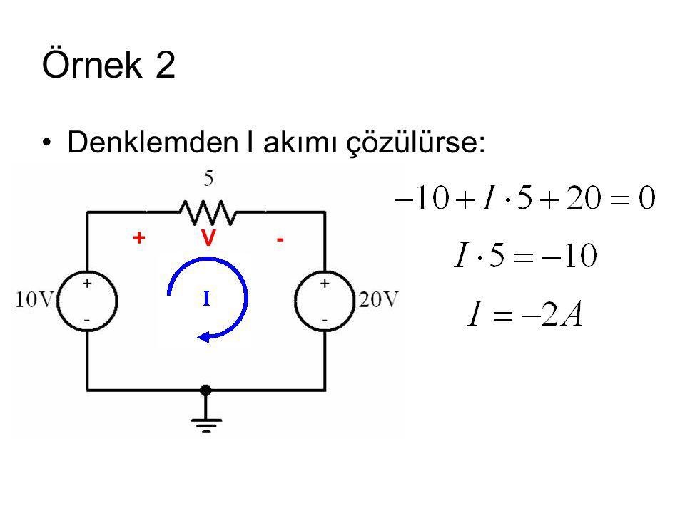 Örnek 2 Denklemden I akımı çözülürse: +V -