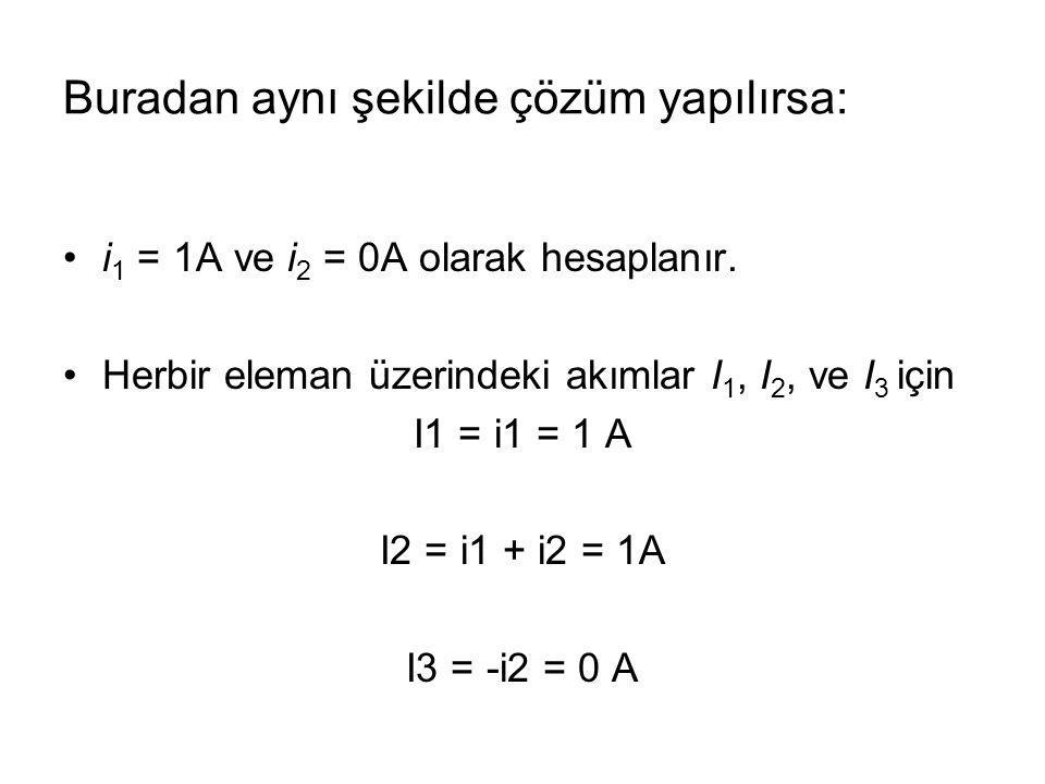 i 1 = 1A ve i 2 = 0A olarak hesaplanır. Herbir eleman üzerindeki akımlar I 1, I 2, ve I 3 için I1 = i1 = 1 A I2 = i1 + i2 = 1A I3 = -i2 = 0 A Buradan