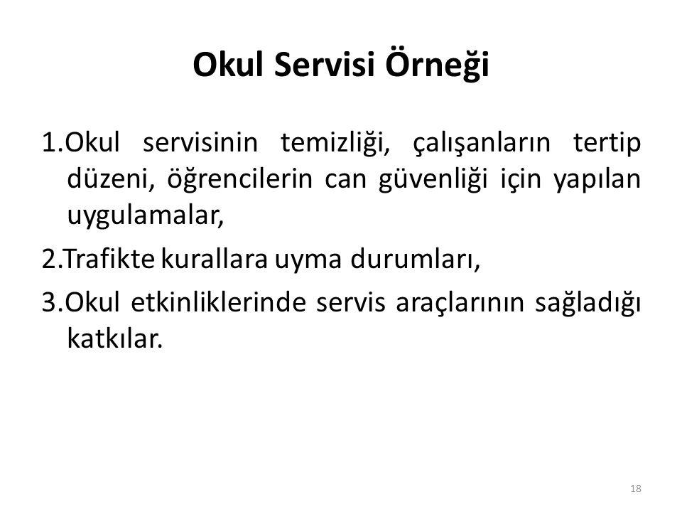 Okul Servisi Örneği 1.Okul servisinin temizliği, çalışanların tertip düzeni, öğrencilerin can güvenliği için yapılan uygulamalar, 2.Trafikte kurallara