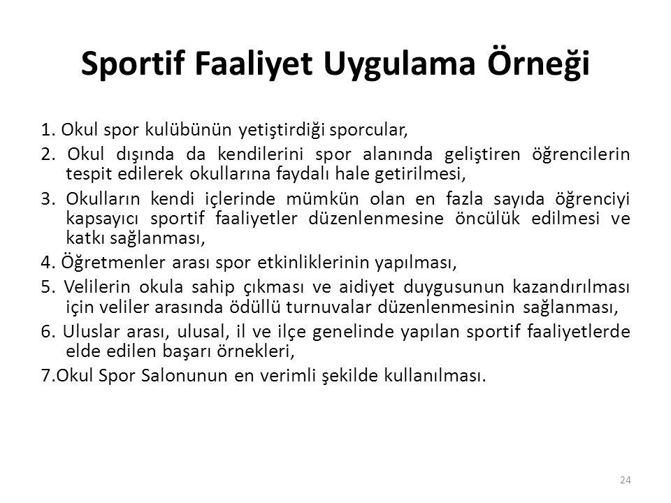 Sportif Faaliyet Uygulama Örneği 1. Okul spor kulübünün yetiştirdiği sporcular, 2. Okul dışında da kendilerini spor alanında geliştiren öğrencilerin t