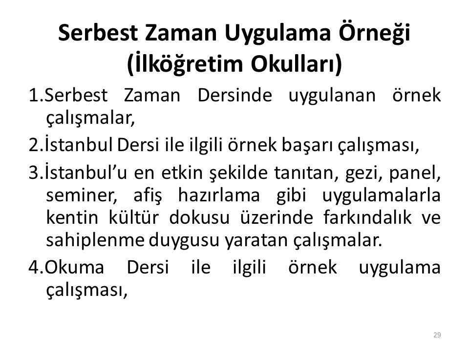 Serbest Zaman Uygulama Örneği (İlköğretim Okulları) 1.Serbest Zaman Dersinde uygulanan örnek çalışmalar, 2.İstanbul Dersi ile ilgili örnek başarı çalı
