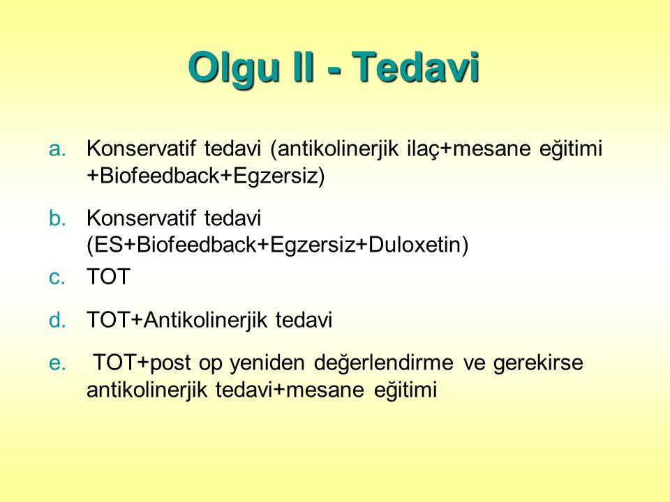 Olgu II - Tedavi a.Konservatif tedavi (antikolinerjik ilaç+mesane eğitimi +Biofeedback+Egzersiz) b.Konservatif tedavi (ES+Biofeedback+Egzersiz+Duloxetin) c.TOT d.TOT+Antikolinerjik tedavi e.