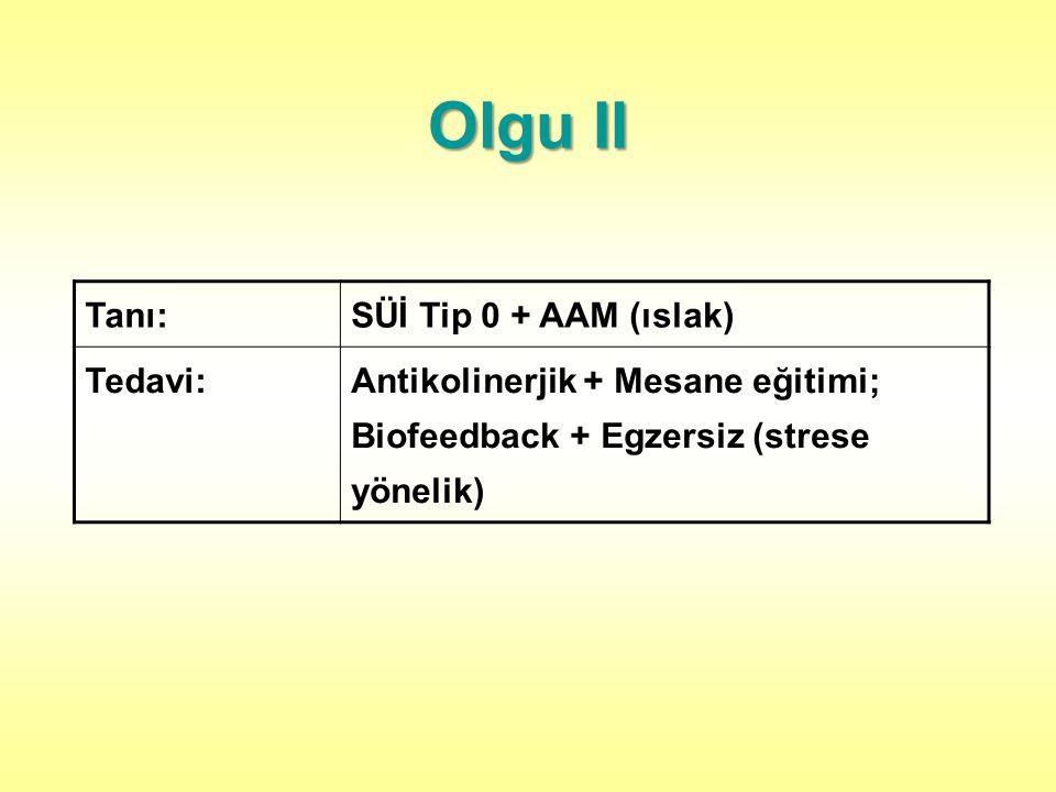 Olgu II Tanı:SÜİ Tip 0 + AAM (ıslak) Tedavi:Antikolinerjik + Mesane eğitimi; Biofeedback + Egzersiz (strese yönelik)