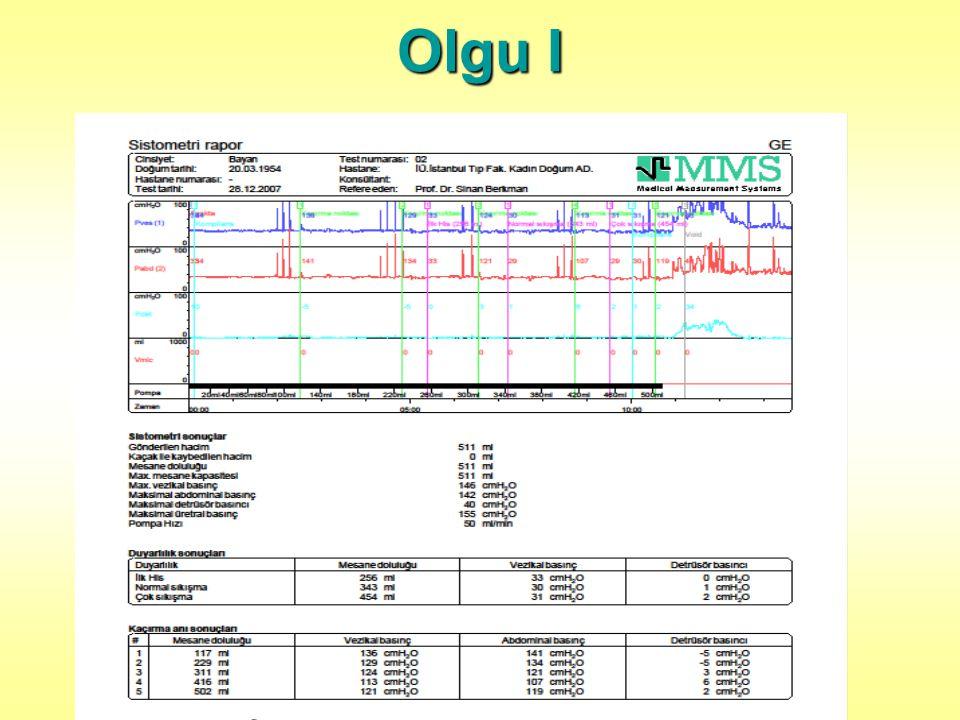 Olgu II Stres Test: (-) Ped testi: Negatif Uretral mobilite: (Q tip Test) 75 º Pelvik taban kas gücü: Digital palpasyon 3/5 Perineometri 21 cmH 2 0 BMI:32,5 (obez)