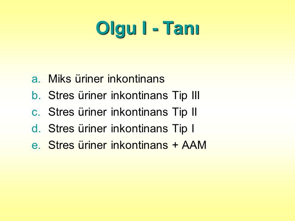 Olgu I - Tanı a.Miks üriner inkontinans b.Stres üriner inkontinans Tip III c.Stres üriner inkontinans Tip II d.Stres üriner inkontinans Tip I e.Stres üriner inkontinans + AAM