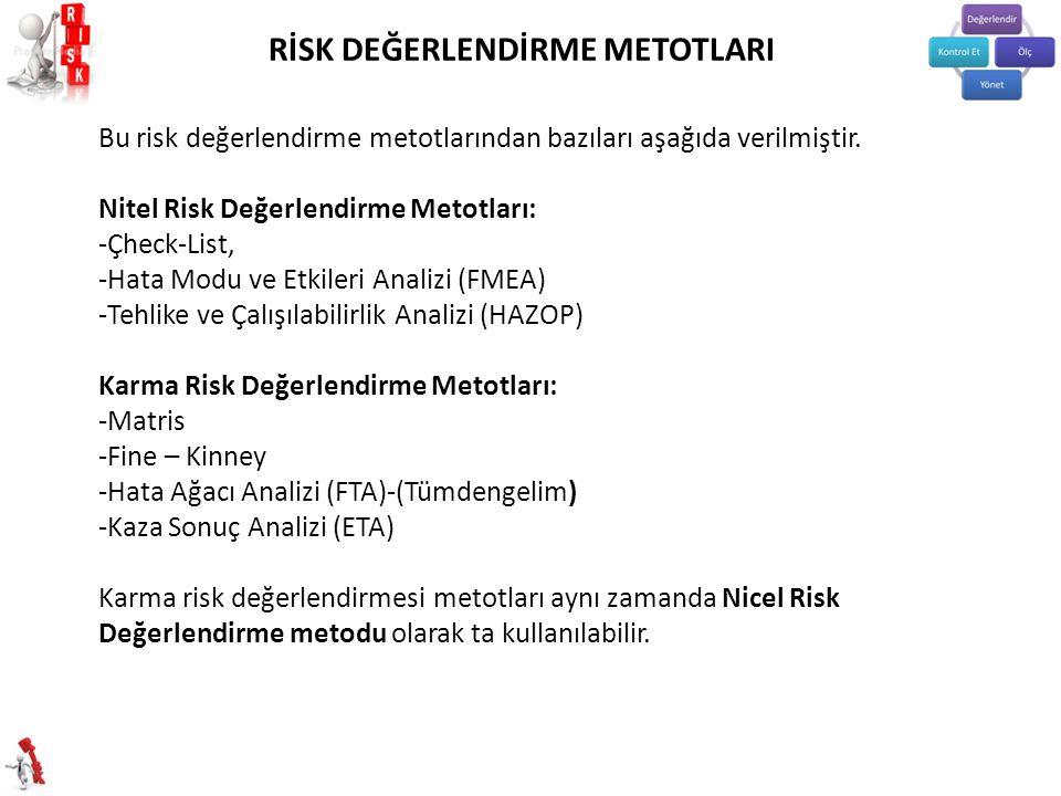 Bu risk değerlendirme metotlarından bazıları aşağıda verilmiştir.