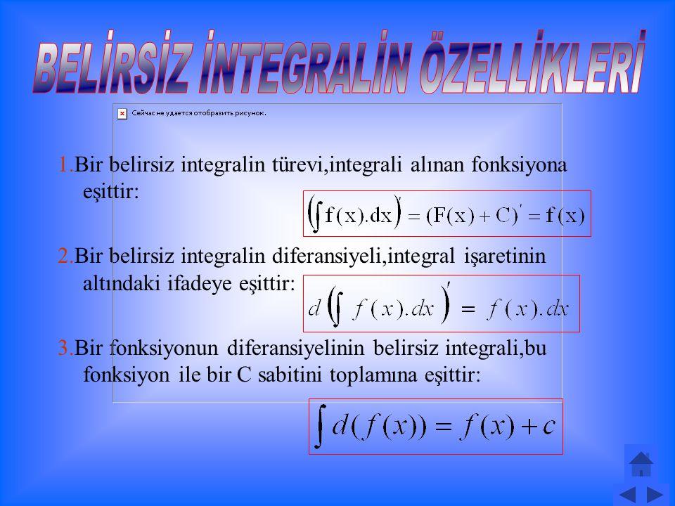 Tanım: tanımlı iki fonksiyon olsun.Eğer F(x) in türevi f(x) veya diferansiyeli f(x).dx olan F(x) fonksiyonuna,f(x) fonksiyonunun belirsiz integrali denir ve biçiminde gösterilir.