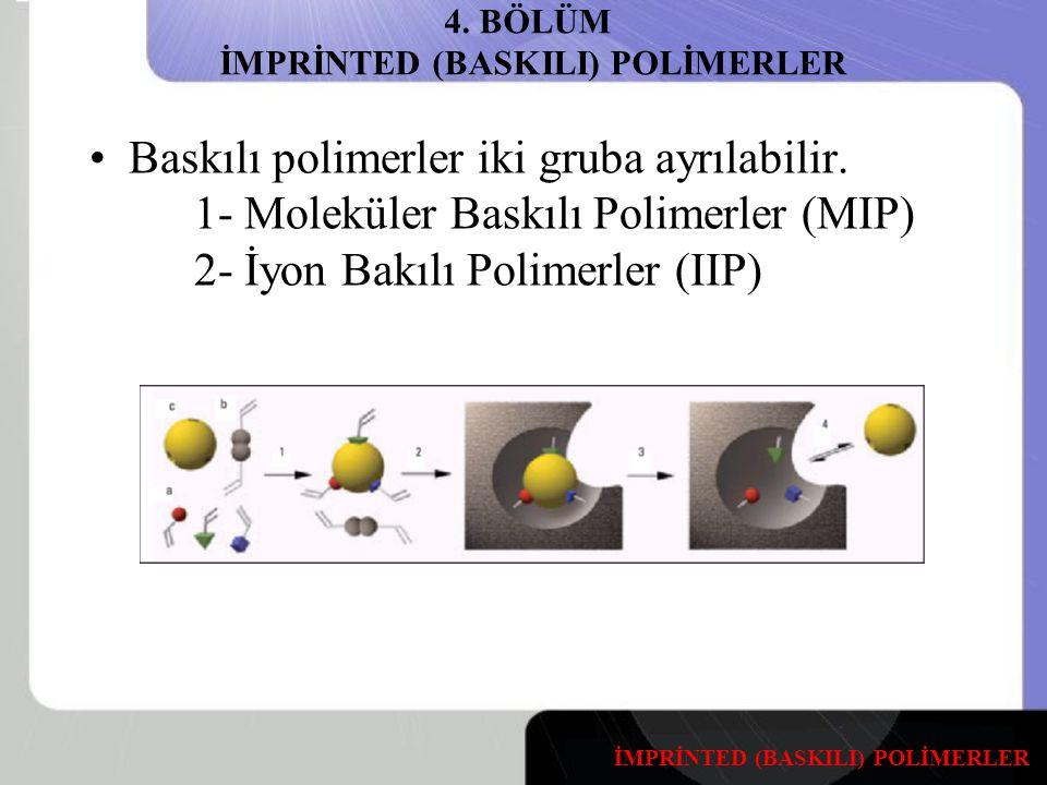4.BÖLÜM İMPRİNTED (BASKILI) POLİMERLER Baskılı polimerler iki gruba ayrılabilir.