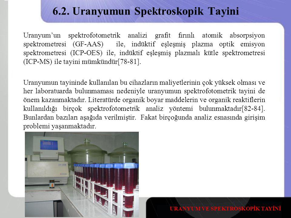 6.2. Uranyumun Spektroskopik Tayini Uranyum'un spektrofotometrik analizi grafit fırınlı atomik absorpsiyon spektrometresi (GF-AAS) ile, indüktif eşleş