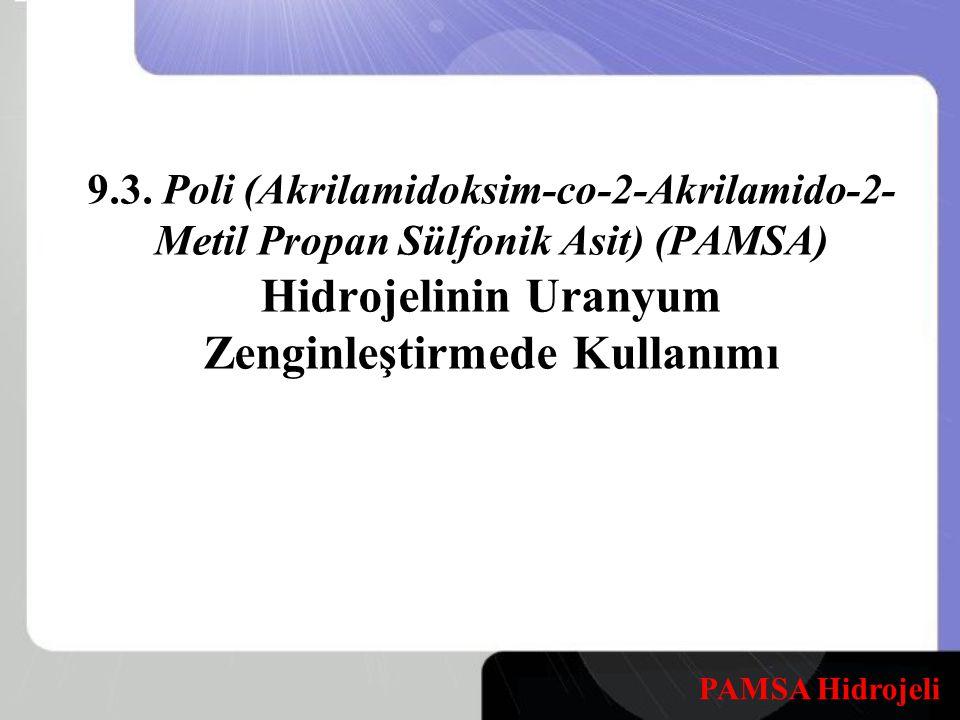 9.3. Poli (Akrilamidoksim-co-2-Akrilamido-2- Metil Propan Sülfonik Asit) (PAMSA) Hidrojelinin Uranyum Zenginleştirmede Kullanımı PAMSA Hidrojeli