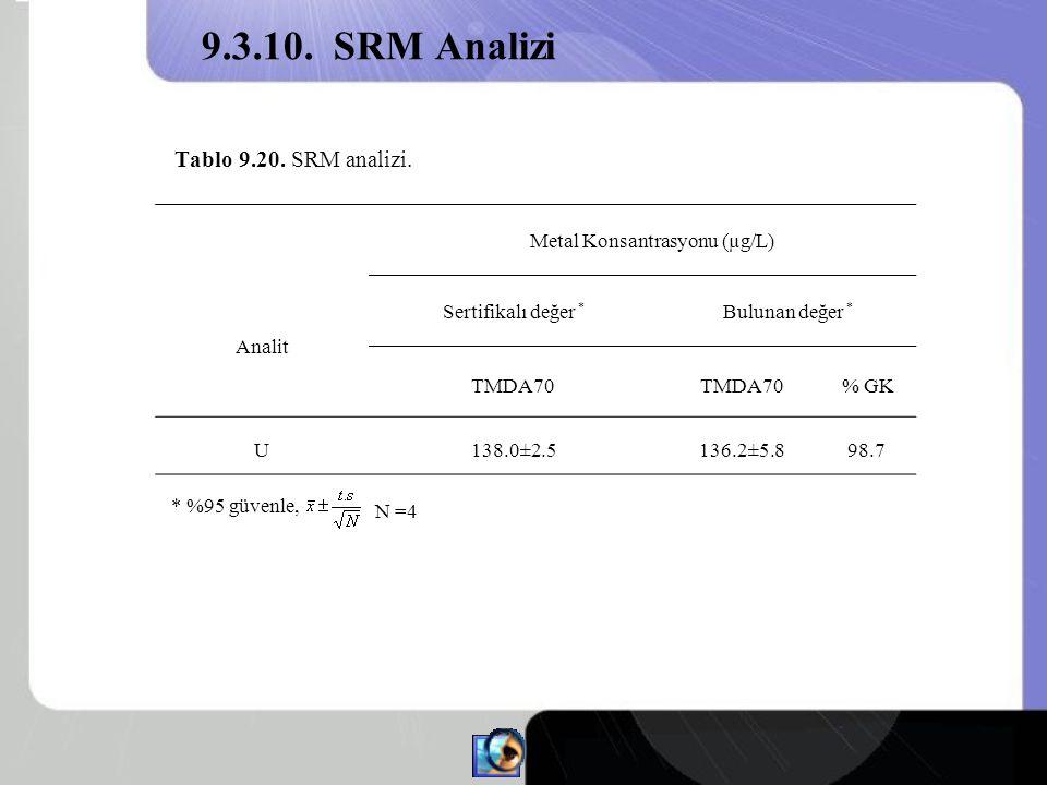 Tablo 9.20.SRM analizi.