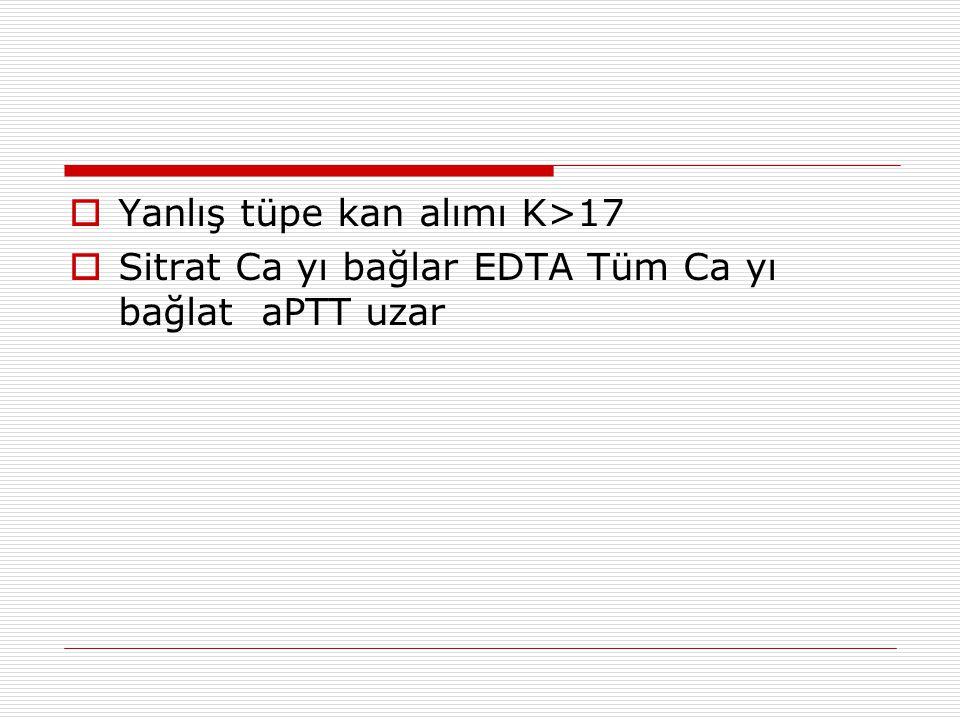  Yanlış tüpe kan alımı K>17  Sitrat Ca yı bağlar EDTA Tüm Ca yı bağlat aPTT uzar