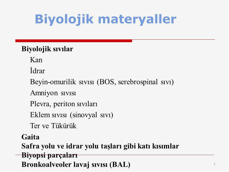 Biyolojik materyaller 3 Biyolojik sıvılar Kan İdrar Beyin-omurilik sıvısı (BOS, serebrospinal sıvı) Amniyon sıvısı Plevra, periton sıvıları Eklem sıvı