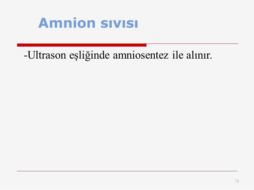 Amnion sıvısı 73 -Ultrason eşliğinde amniosentez ile alınır.