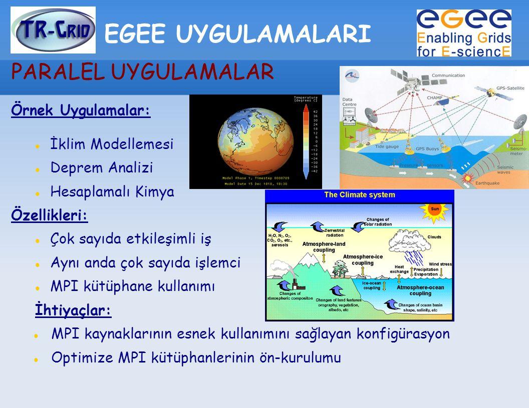 EGEE UYGULAMALARI PARALEL UYGULAMALAR Örnek Uygulamalar: İklim Modellemesi Deprem Analizi Hesaplamalı Kimya Özellikleri: Çok sayıda etkileşimli iş Aynı anda çok sayıda işlemci MPI kütüphane kullanımı İhtiyaçlar: MPI kaynaklarının esnek kullanımını sağlayan konfigürasyon Optimize MPI kütüphanlerinin ön-kurulumu
