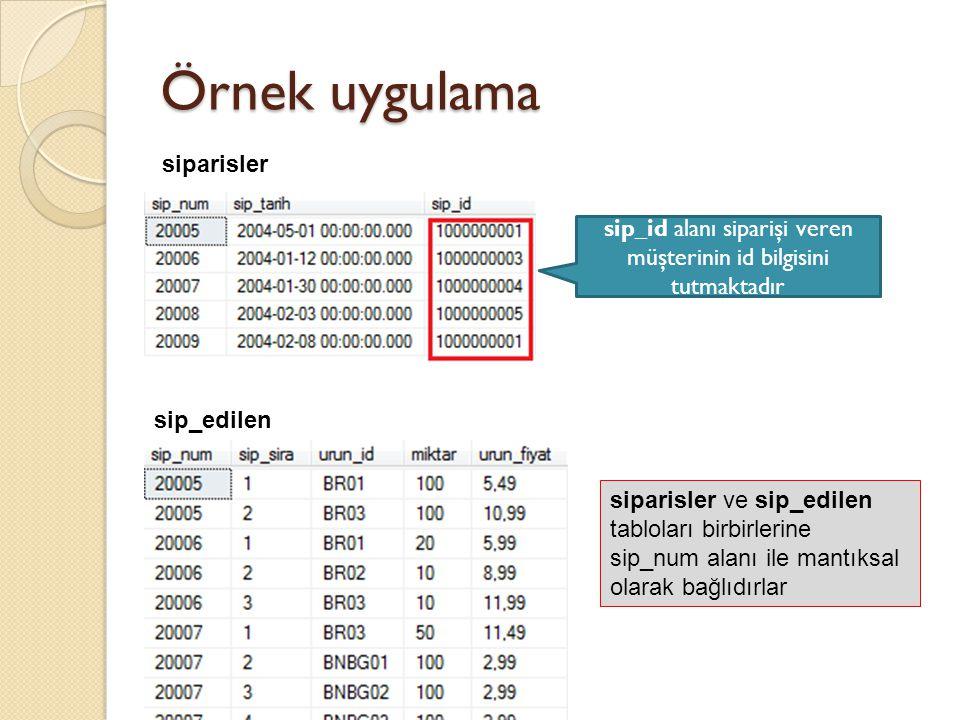 Örnek uygulama siparisler sip_edilen sip_id alanı siparişi veren müşterinin id bilgisini tutmaktadır siparisler ve sip_edilen tabloları birbirlerine sip_num alanı ile mantıksal olarak bağlıdırlar