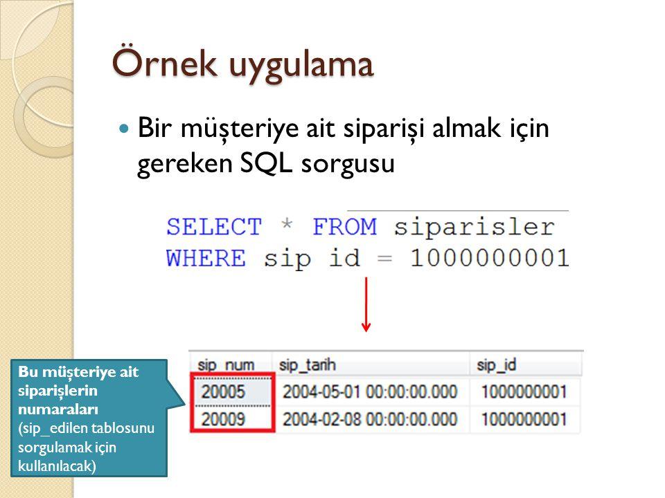 Örnek uygulama Bir müşteriye ait siparişi almak için gereken SQL sorgusu Bu müşteriye ait siparişlerin numaraları (sip_edilen tablosunu sorgulamak içi