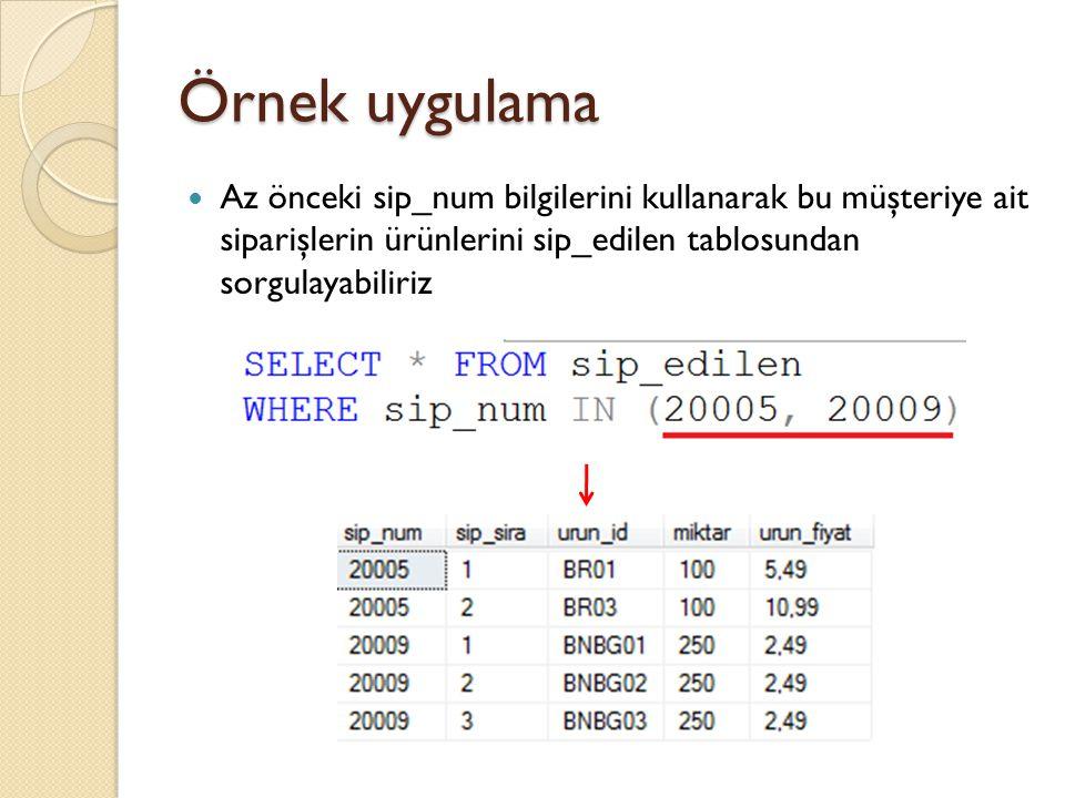 Örnek uygulama Az önceki sip_num bilgilerini kullanarak bu müşteriye ait siparişlerin ürünlerini sip_edilen tablosundan sorgulayabiliriz