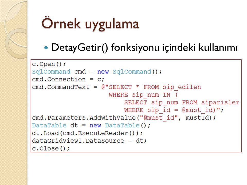 Örnek uygulama DetayGetir() fonksiyonu içindeki kullanımı