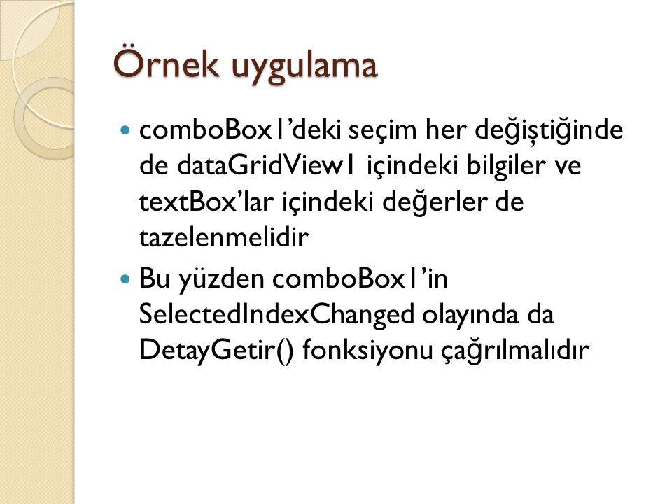 comboBox1'deki seçim her de ğ işti ğ inde de dataGridView1 içindeki bilgiler ve textBox'lar içindeki de ğ erler de tazelenmelidir Bu yüzden comboBox1'
