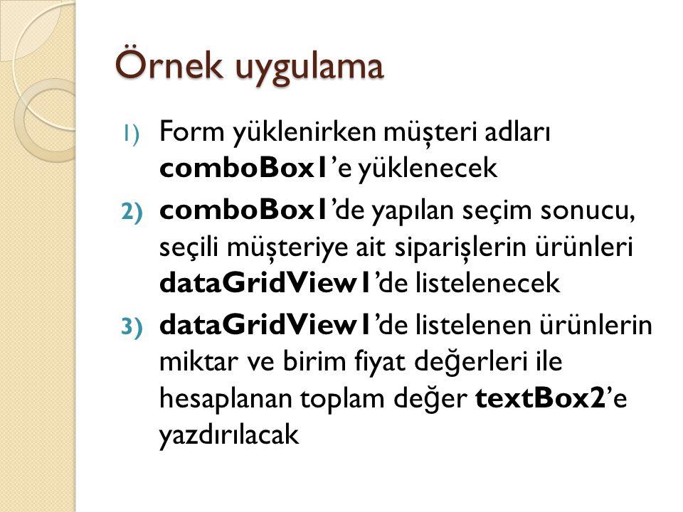 Örnek uygulama 1) Form yüklenirken müşteri adları comboBox1'e yüklenecek 2) comboBox1'de yapılan seçim sonucu, seçili müşteriye ait siparişlerin ürünl