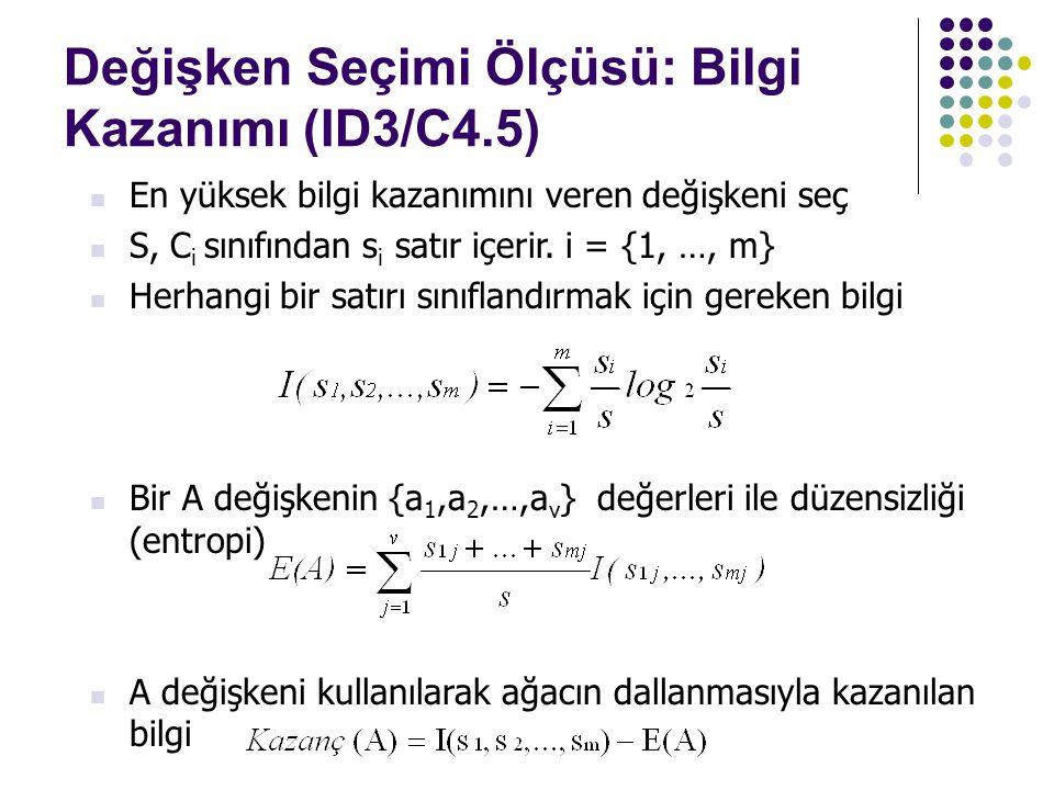 En yüksek bilgi kazanımını veren değişkeni seç S, C i sınıfından s i satır içerir. i = {1, …, m} Herhangi bir satırı sınıflandırmak için gereken bilgi