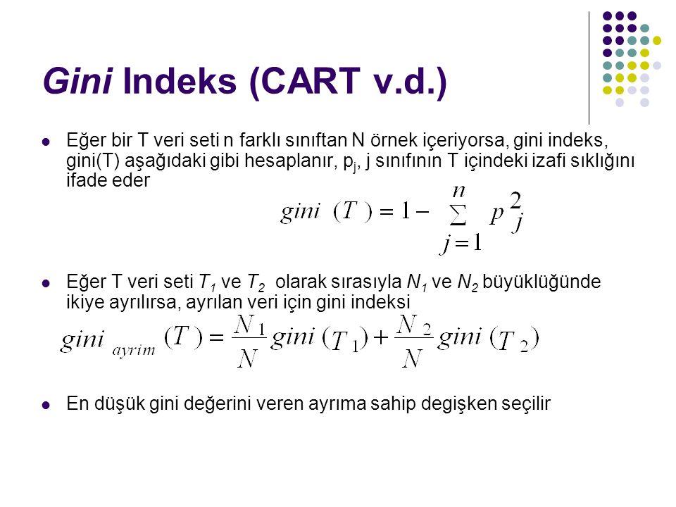 Gini Indeks (CART v.d.) Eğer bir T veri seti n farklı sınıftan N örnek içeriyorsa, gini indeks, gini(T) aşağıdaki gibi hesaplanır, p j, j sınıfının T