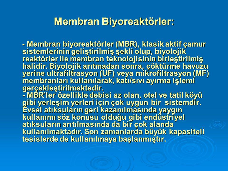 Membran Biyoreaktörler: - Membran biyoreaktörler (MBR), klasik aktif çamur sistemlerinin geliştirilmiş şekli olup, biyolojik reaktörler ile membran te