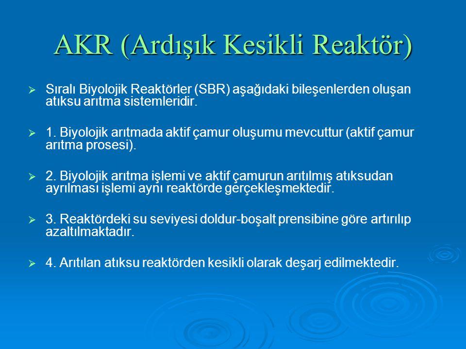 AKR (Ardışık Kesikli Reaktör)   Sıralı Biyolojik Reaktörler (SBR) aşağıdaki bileşenlerden oluşan atıksu arıtma sistemleridir.   1. Biyolojik arıtm