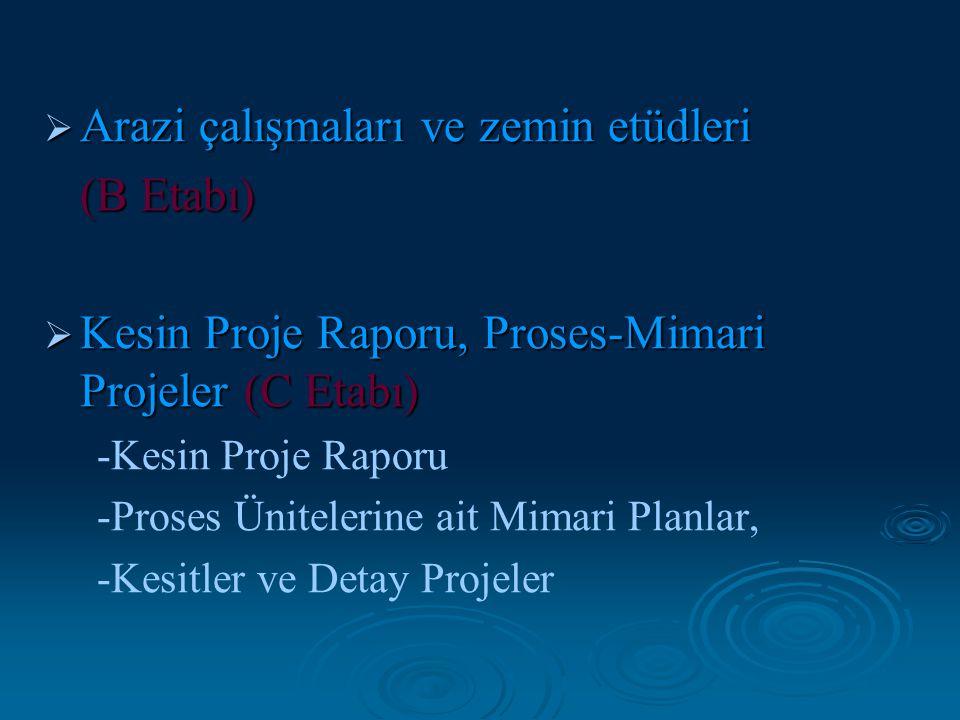  Arazi çalışmaları ve zemin etüdleri (B Etabı) (B Etabı)  Kesin Proje Raporu, Proses-Mimari Projeler (C Etabı) -Kesin Proje Raporu -Proses Üniteleri