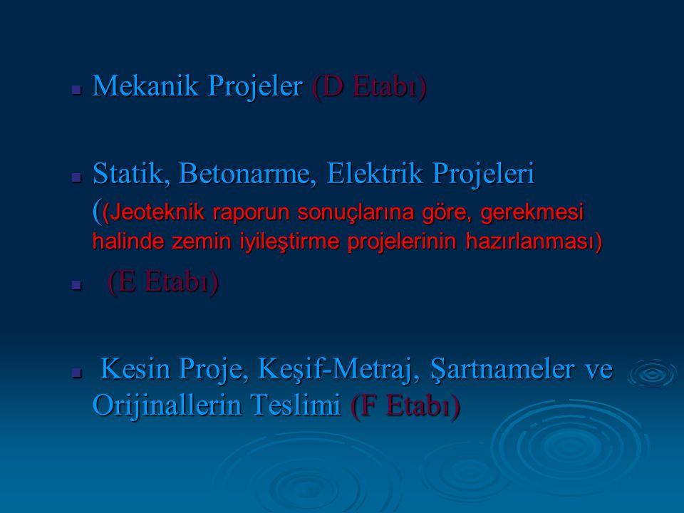 Mekanik Projeler (D Etabı) Mekanik Projeler (D Etabı) Statik, Betonarme, Elektrik Projeleri ( (Jeoteknik raporun sonuçlarına göre, gerekmesi halinde z