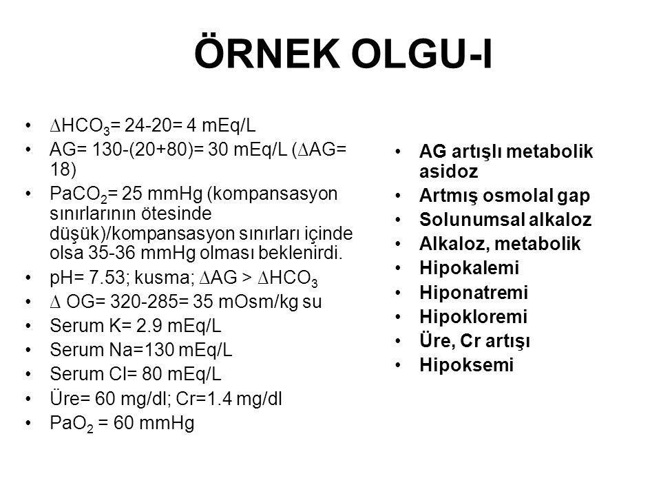 ÖRNEK OLGU-I ∆HCO 3 = 24-20= 4 mEq/L AG= 130-(20+80)= 30 mEq/L (∆AG= 18) PaCO 2 = 25 mmHg (kompansasyon sınırlarının ötesinde düşük)/kompansasyon sını
