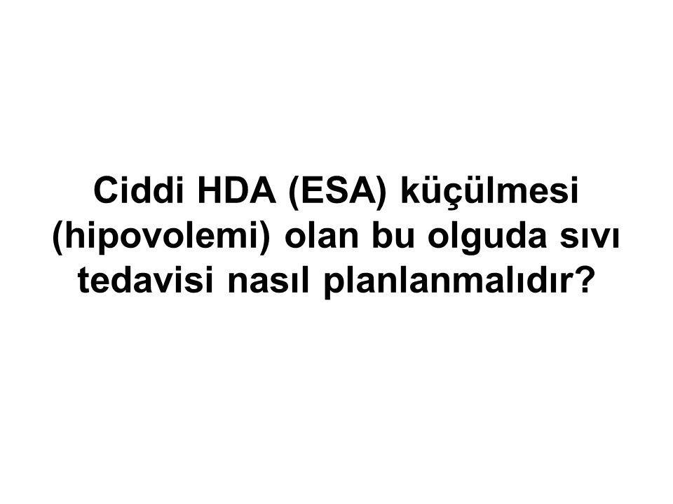 Ciddi HDA (ESA) küçülmesi (hipovolemi) olan bu olguda sıvı tedavisi nasıl planlanmalıdır?