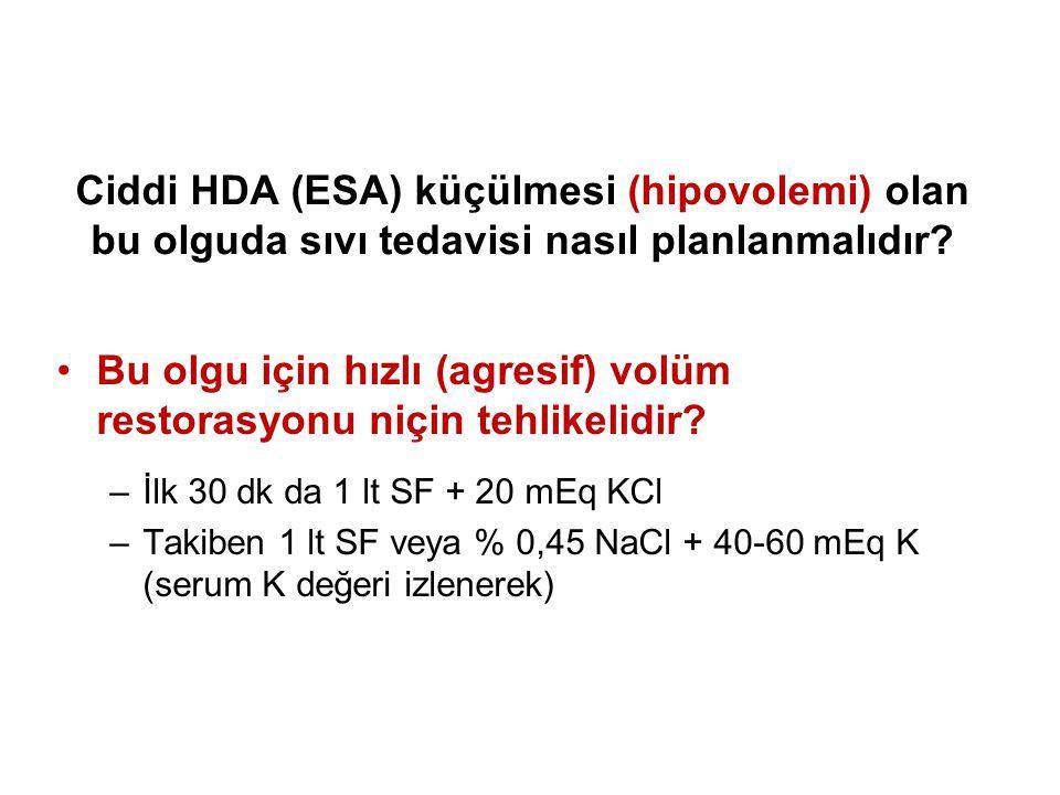 Ciddi HDA (ESA) küçülmesi (hipovolemi) olan bu olguda sıvı tedavisi nasıl planlanmalıdır? Bu olgu için hızlı (agresif) volüm restorasyonu niçin tehlik
