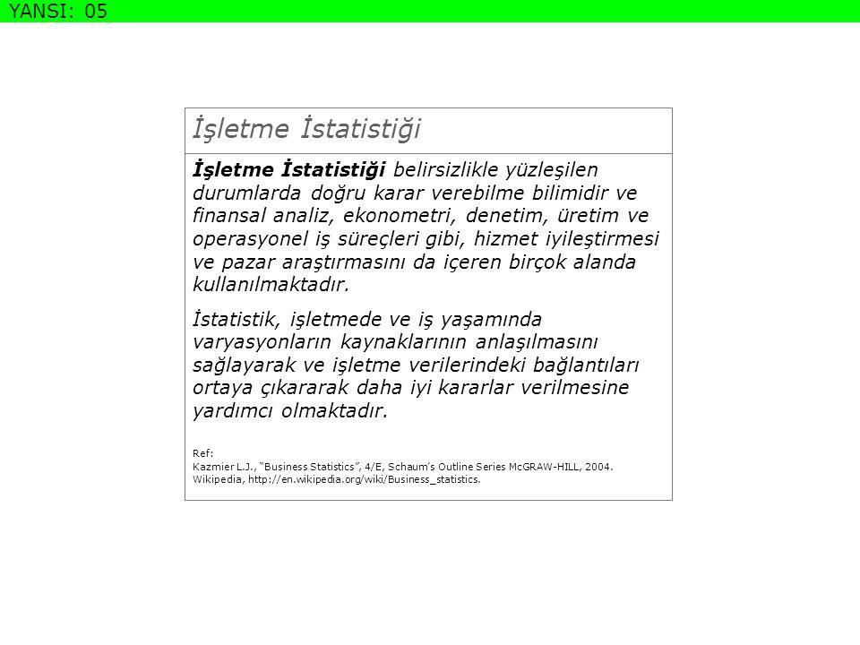 İstatistik Türleri Ref: Berenson M.L.