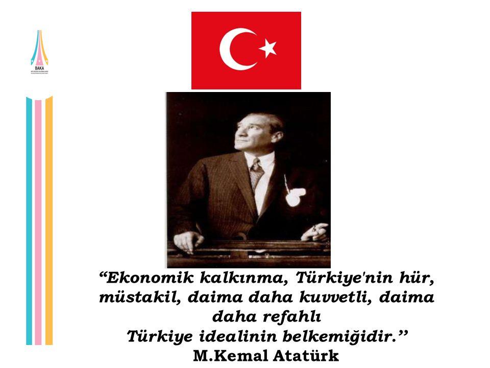 """""""Ekonomik kalkınma, Türkiye'nin hür, müstakil, daima daha kuvvetli, daima daha refahlı Türkiye idealinin belkemiğidir.'' M.Kemal Atatürk"""