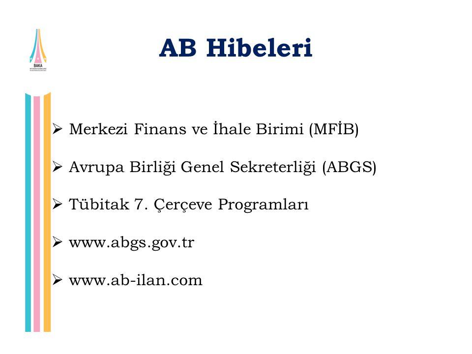 AB Hibeleri  Merkezi Finans ve İhale Birimi (MFİB)  Avrupa Birliği Genel Sekreterliği (ABGS)  Tübitak 7. Çerçeve Programları  www.abgs.gov.tr  ww